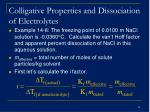 colligative properties and dissociation of electrolytes38