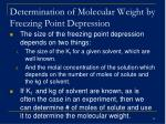 determination of molecular weight by freezing point depression