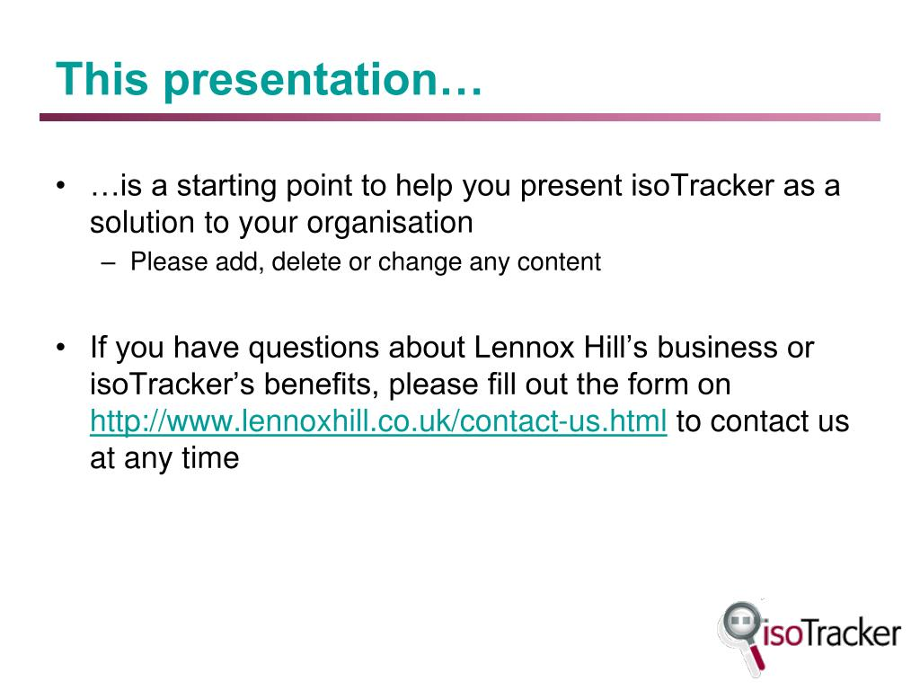 this presentation l.