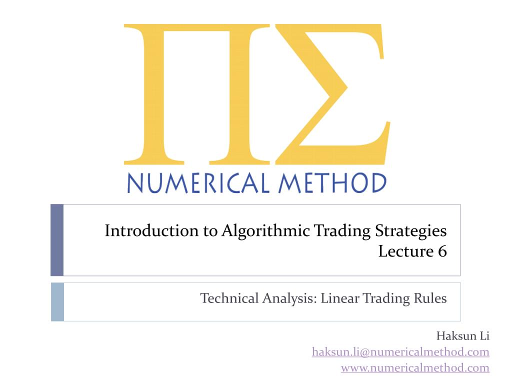 introduction to algorithmic trading strategies lecture 6 l.