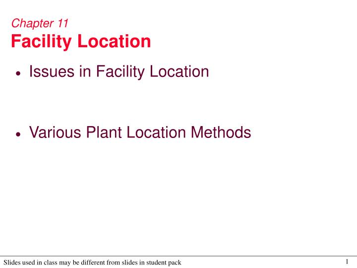 chapter 11 facility location n.