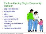 factors affecting region community decision