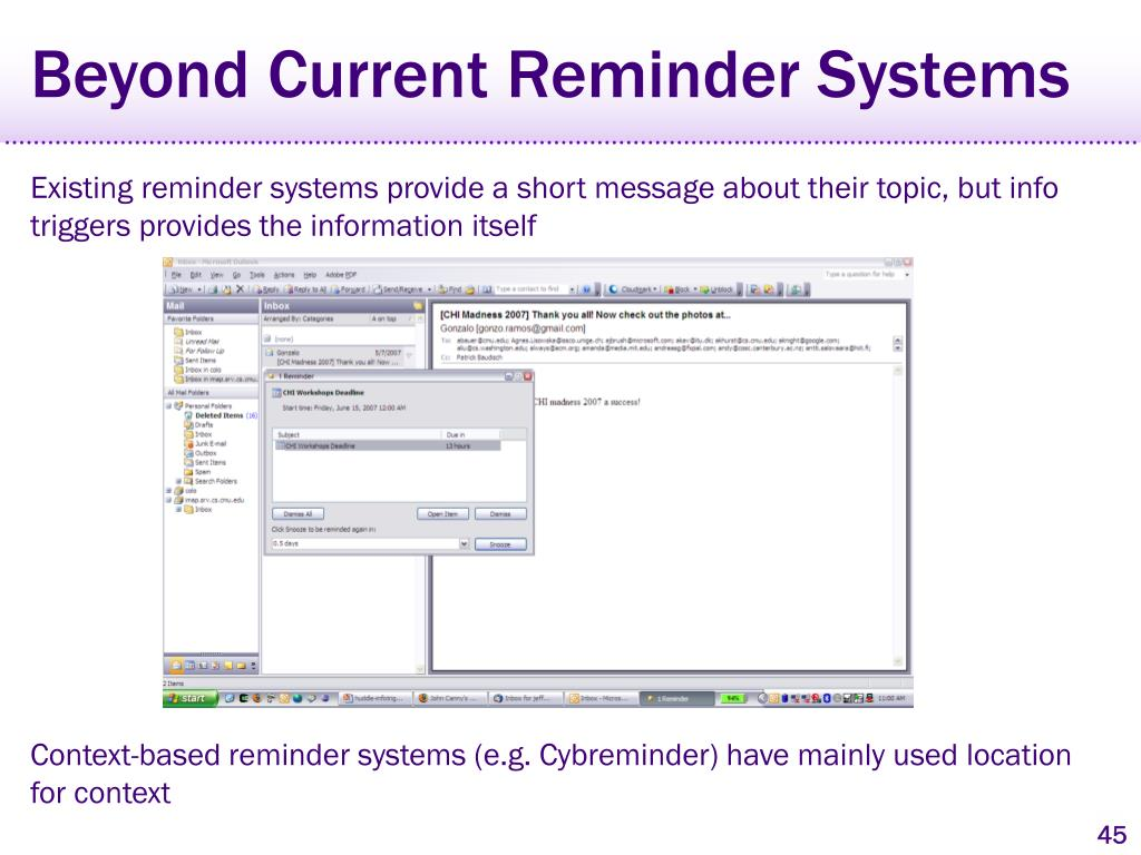 Beyond Current Reminder Systems