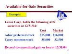 available for sale securities21