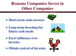 reasons companies invest in other companies