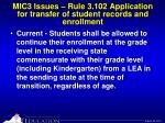 mic3 issues rule 3 102 application for transfer of student records and enrollment