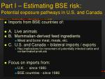 part i estimating bse risk potential exposure pathways in u s and canada