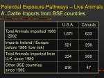 potential exposure pathways live animals a cattle imports from bse countries
