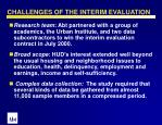challenges of the interim evaluation