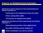impacts on neighborhood outcomes