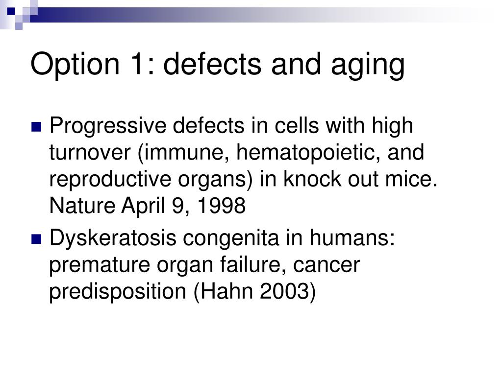 Option 1: defects and aging