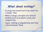 what about ecology