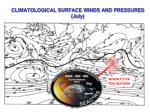 climatological surface winds and pressures july