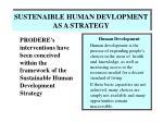 sustenaible human devlopment as a strategy