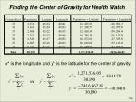 finding the center of gravity for health watch