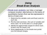 using break even analysis