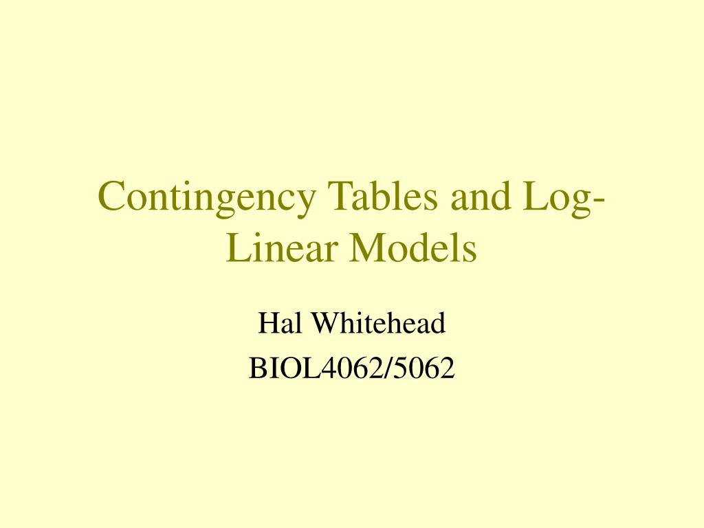contingency tables and log linear models l.