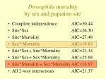 drosophila mortality by sex and pupation site