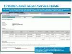 erstellen einer neuen service quote13