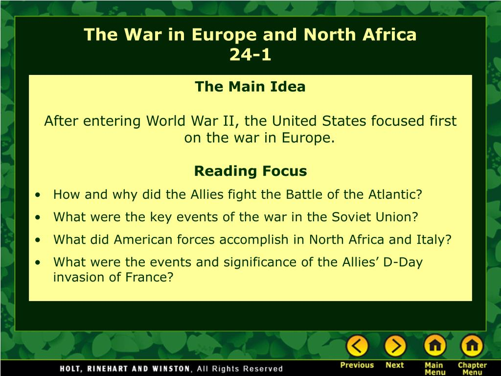 the war in europe and north africa 24 1 l.