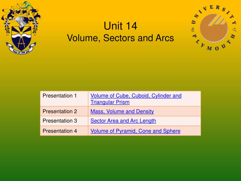 unit 14 volume sectors and arcs l.