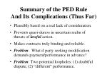 summary of the ped rule and its complications thus far