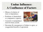 undue influence a confluence of factors