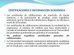 certificaciones e informaci n acad mica