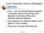 core deposits versus managed liabilities