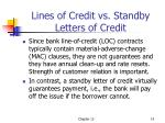 lines of credit vs standby letters of credit