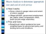 macro analysis to determine appropriate size and cost of civil service