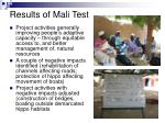 results of mali test