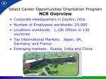 select career opportunities orientation program ncr overview