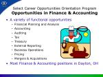 select career opportunities orientation program opportunities in finance accounting