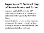 august 6 and 9 national days of remembrance and action