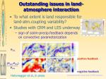 outstanding issues in land atmosphere interaction