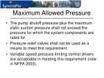 maximum allowed pressure