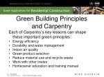 green building principles and carpentry