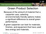 green product selection