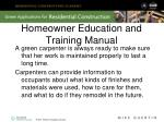 homeowner education and training manual