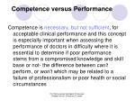 competence versus performance