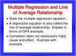 multiple regression and line of average relationship