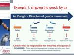 example 1 shipping the goods by air