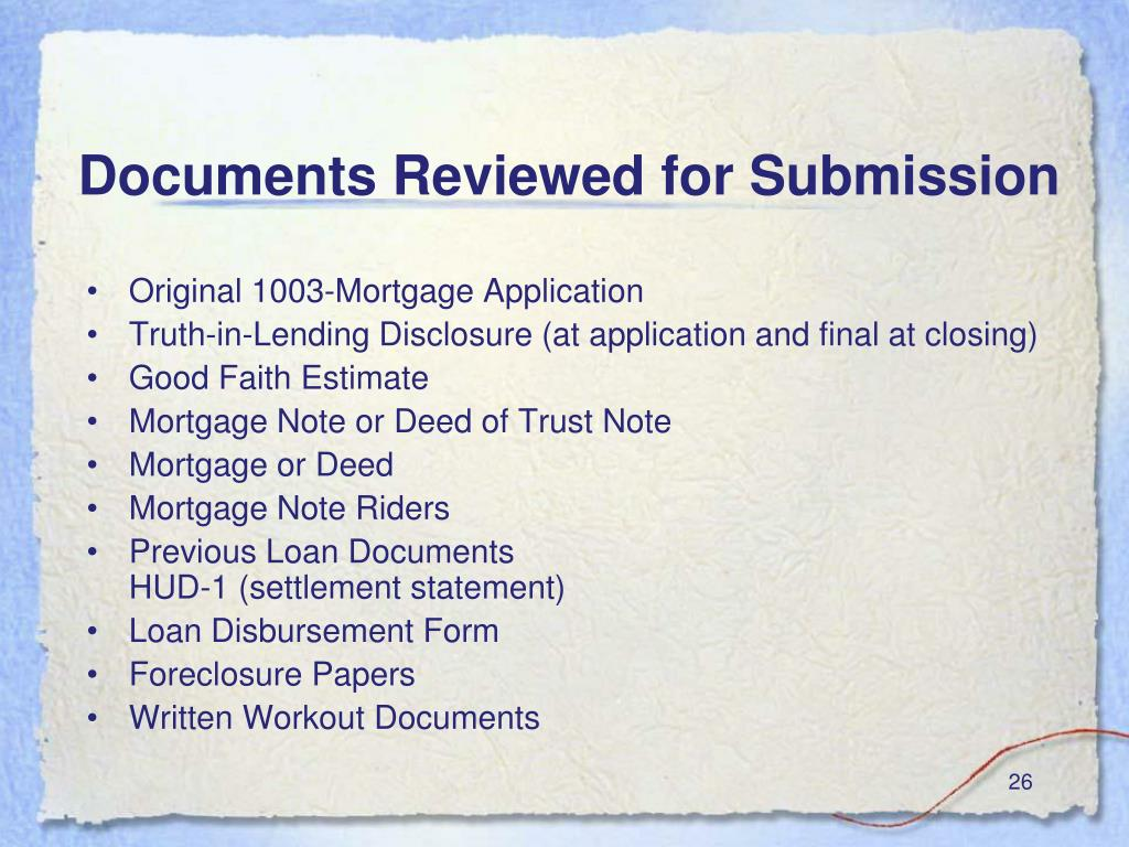 Documents Reviewed for Submission