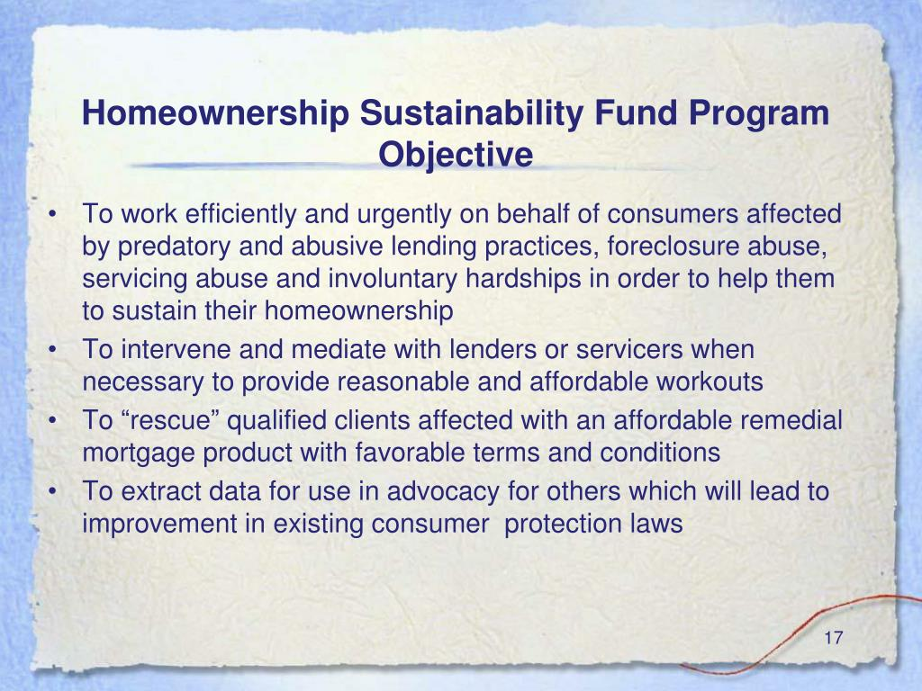 Homeownership Sustainability Fund Program Objective