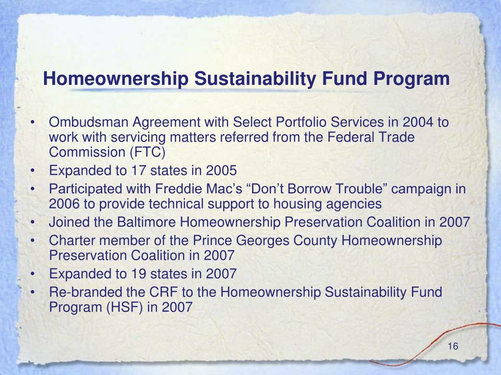 Homeownership Sustainability Fund Program