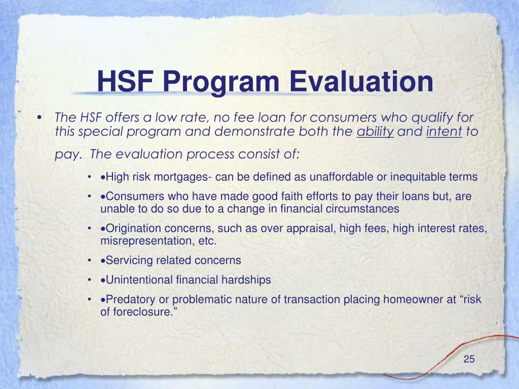 HSF Program Evaluation