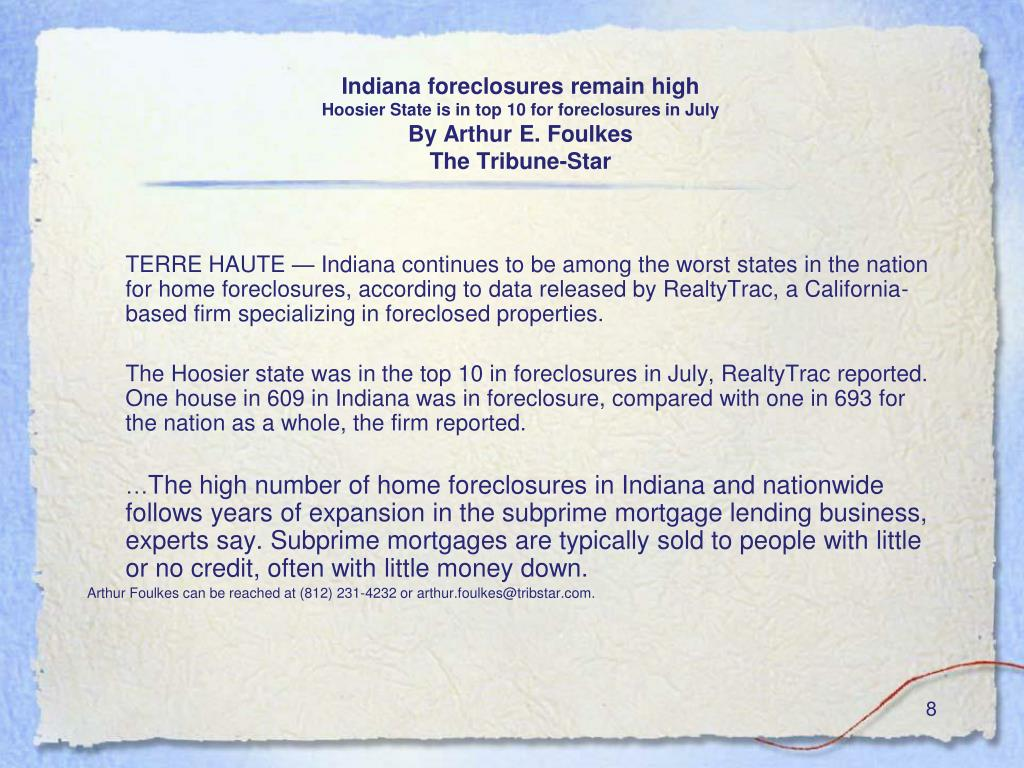 Indiana foreclosures remain high