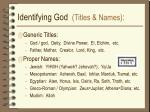 identifying god titles names