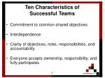 ten characteristics of successful teams